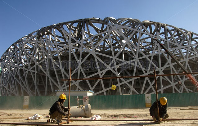 Construction of Bird Nest stadium