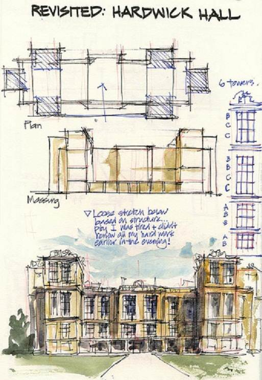 sketch drawings of hardwick hall
