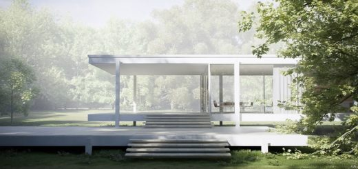 mies farnsworth house exterior view